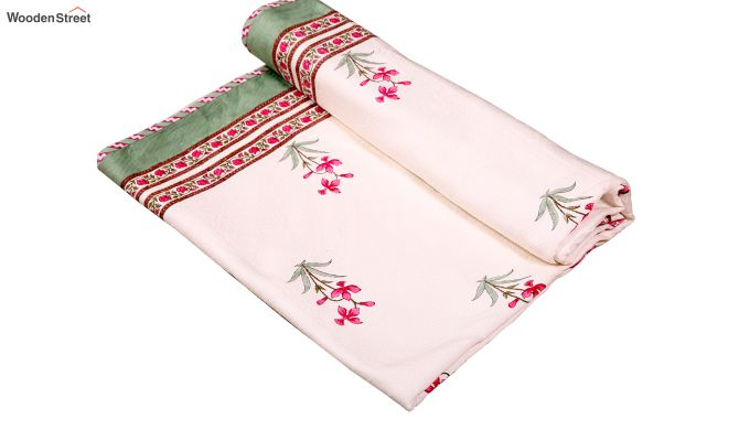 Pink Daffodils Hand Block Print Quilt With Pillow Covers-6
