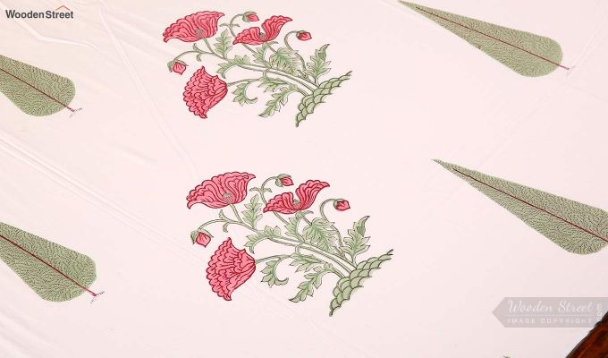 Pink Flora Hand Block Print Bed Sheet With Pillow Covers-4