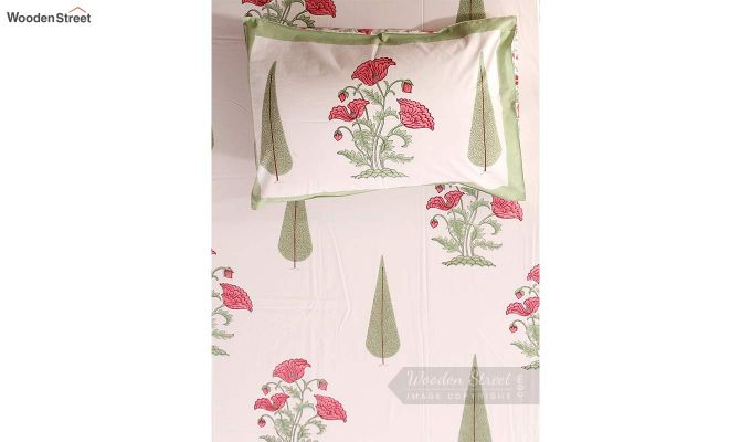 Pink Flora Hand Block Print Bed Sheet With Pillow Covers-5