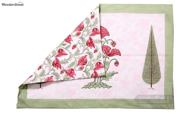 Pink Flora Hand Block Print Bed Sheet With Pillow Covers-7