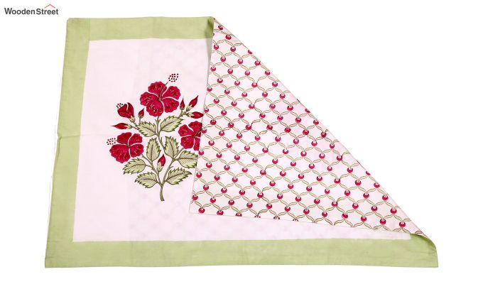 Pink Hibis Hand Block Print Bed Sheet With Pillow Covers-5