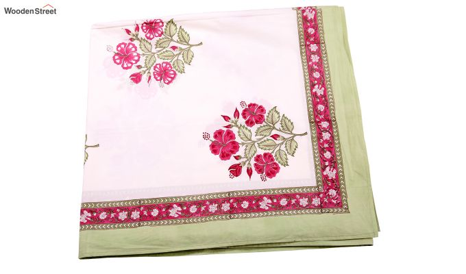Pink Hibis Hand Block Print Bed Sheet With Pillow Covers-6