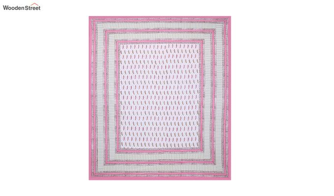 Pink Sanganeri Hand Block Print Double Bed Sheet With Pillow Covers-3
