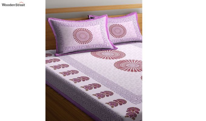 Purple Paisley Print Double Bed Sheet With Pillow Covers-2