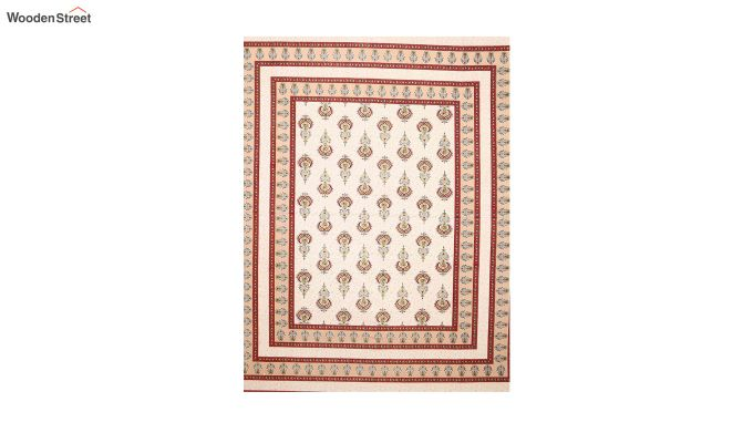 Red and White Screen Block Print Double Bed Sheet With Pillow Covers-3