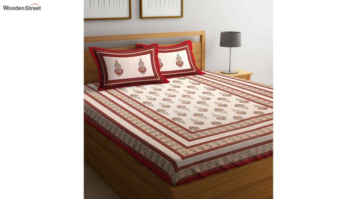 Red and White Screen Block Print Double Bed Sheet With Pillow Covers-4