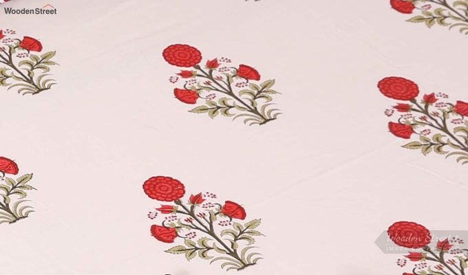 Red Dahlia Hand Block Print Bed Sheet With Pillow Covers-3