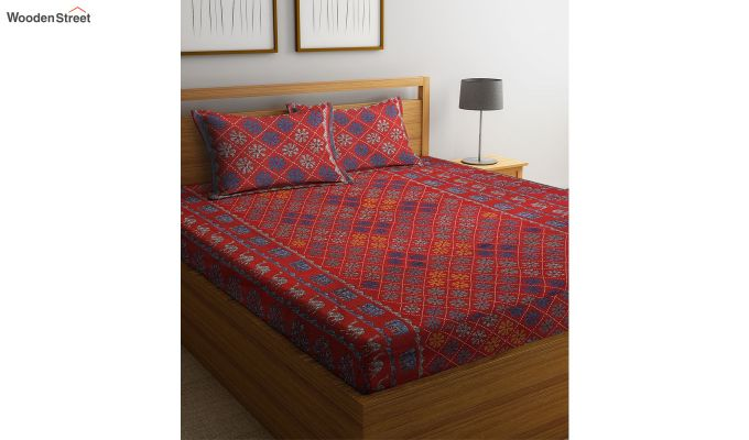 Red Screen Print Floral Pattern Double Bed Sheet With Pillow Covers-2