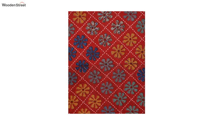 Red Screen Print Floral Pattern Double Bed Sheet With Pillow Covers-4