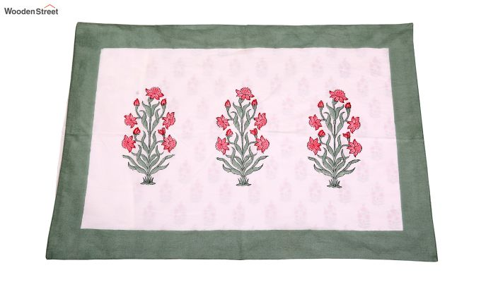 Spring Bloom Hand Block Print Bed Sheet With Pillow Covers-3