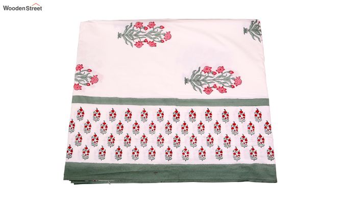 Spring Bloom Hand Block Print Bed Sheet With Pillow Covers-5