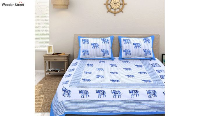 White and Blue Sanganeri Print Double Bed Sheet With Pillow Covers-1