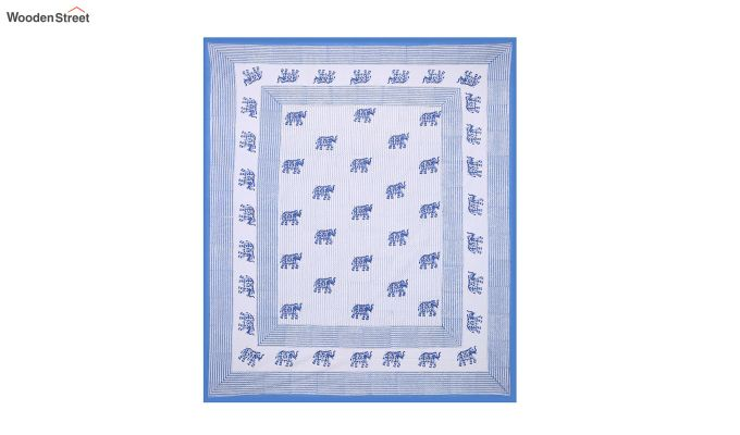 White and Blue Sanganeri Print Double Bed Sheet With Pillow Covers-2