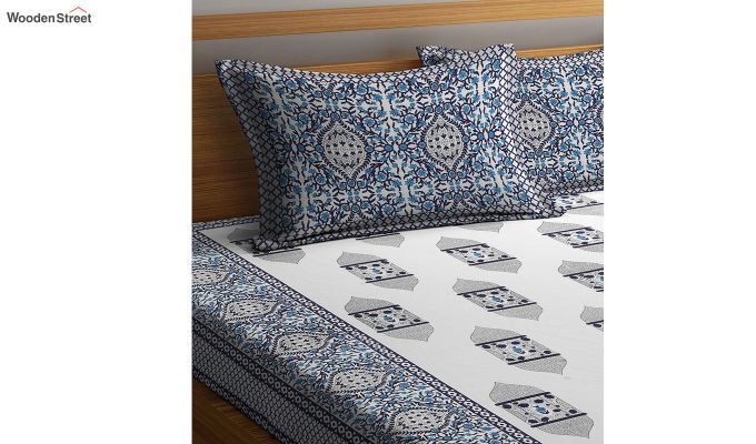 White and Blue Screen Block Print Double Bed Sheet With Pillow Covers-3
