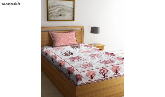 White and Peach Screen Print Jaipuri Single Bed Sheet With Pillow Cover-2