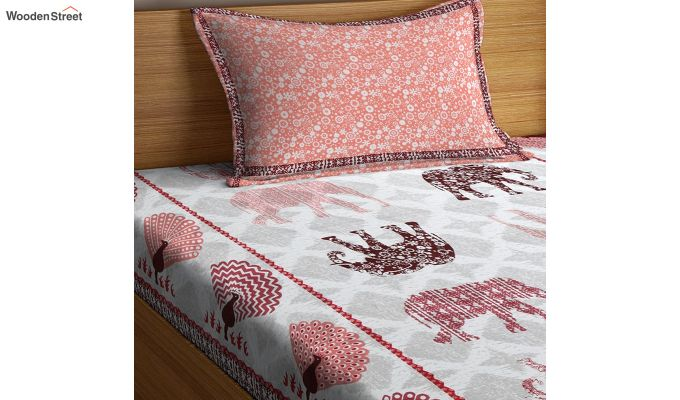 White and Peach Screen Print Jaipuri Single Bed Sheet With Pillow Cover-3