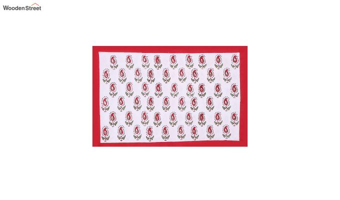 White and Red Hand Block Print Double Bed Sheet With Pillow Covers-2
