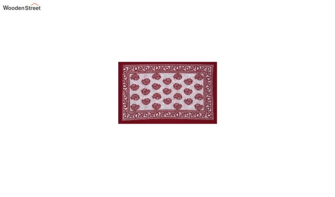 White and Red Screen Block Print Jaipuri Double Bed Sheet With Pillow Covers-4