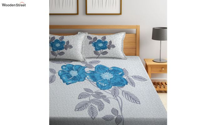 White and Turquoise Screen Print Double Bed Sheet With Pillow Covers-1