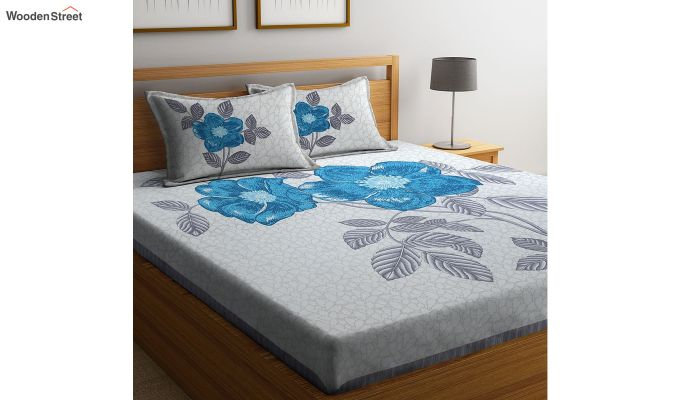 White and Turquoise Screen Print Double Bed Sheet With Pillow Covers-2