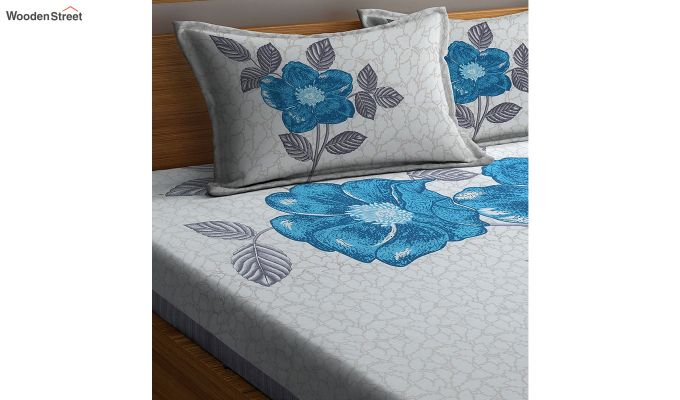 White and Turquoise Screen Print Double Bed Sheet With Pillow Covers-3