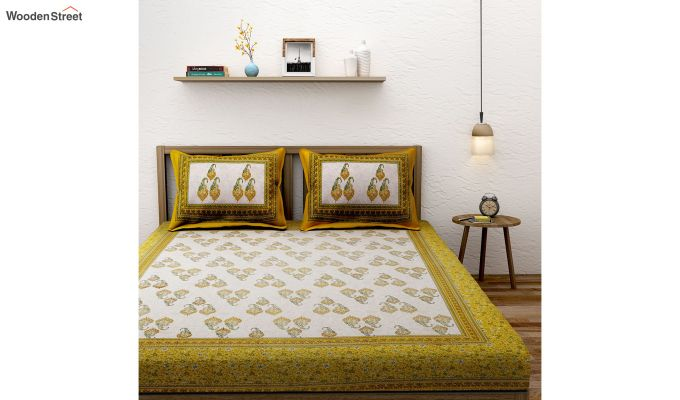 White and Yellow Paisley Print Double Bed Sheet With Pillow Covers-1