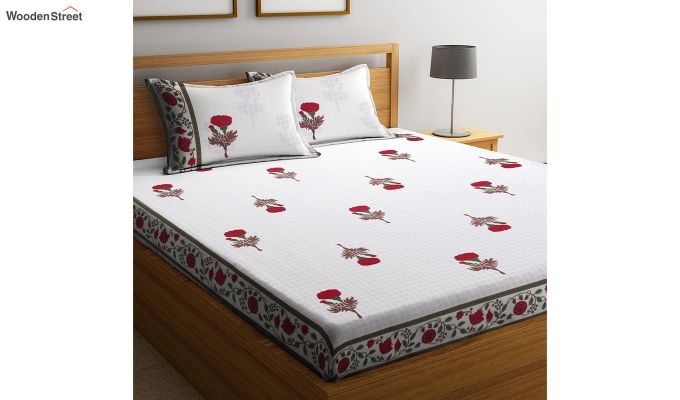 White Floral Pattern Screen Block Print Double Bed Sheet With Pillow Covers-1