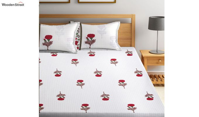 White Floral Pattern Screen Block Print Double Bed Sheet With Pillow Covers-2