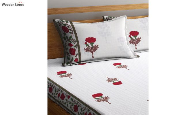 White Floral Pattern Screen Block Print Double Bed Sheet With Pillow Covers-3