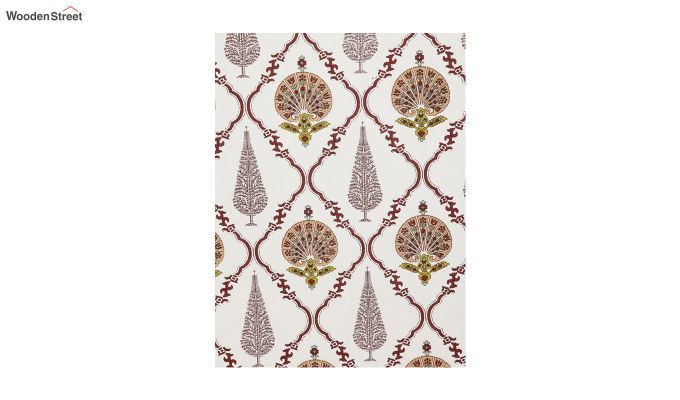 White Screen Block Print Double Bed Sheet With Pillow Covers-4