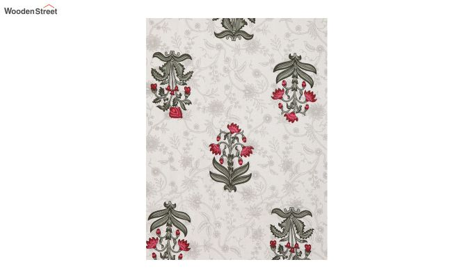 White Screen Block Print Floral Pattern Double Bed Sheet With Pillow Covers-4