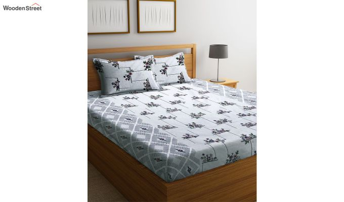 White Screen Print Floral Double Bed Sheet With Pillow Covers-1