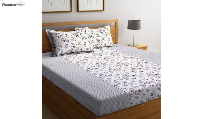 White Screen Print Floral Pattern Double Bed Sheet With Pillow Covers-1