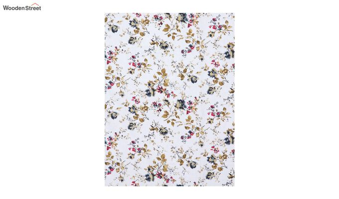 White Screen Print Floral Pattern Double Bed Sheet With Pillow Covers-3