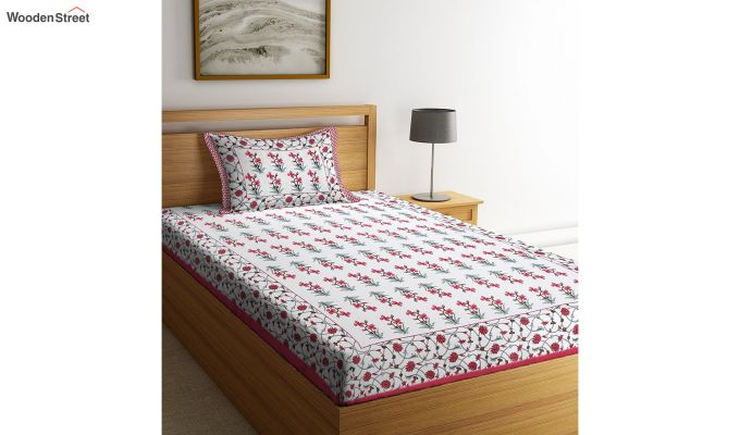 White Screen Print Floral Pattern Single Bed Sheet With 1 Pillow Cover-1