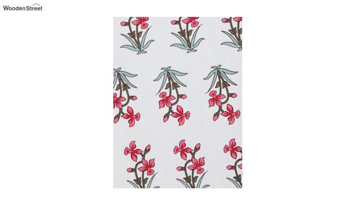 White Screen Print Floral Pattern Single Bed Sheet With 1 Pillow Cover-4
