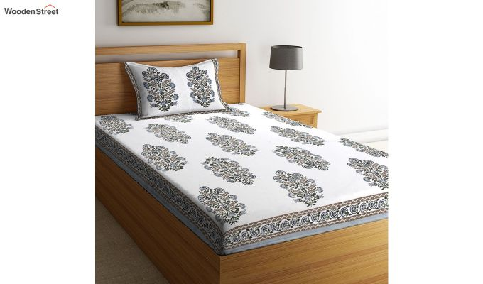 White Screen Print Jaipuri Single Bed Sheet With Pillow Cover-2