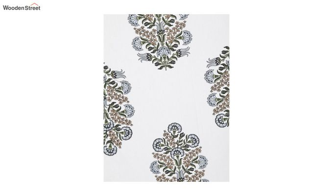 White Screen Print Jaipuri Single Bed Sheet With Pillow Cover-4