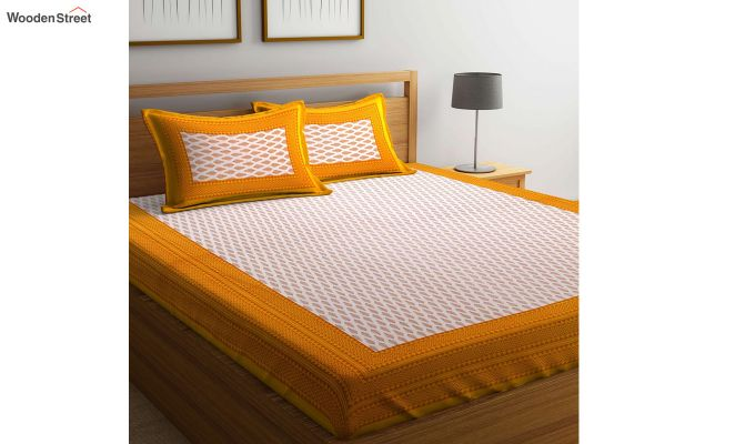 Yellow and White Screen Block Print Double Bed Sheet With Pillow Covers-1