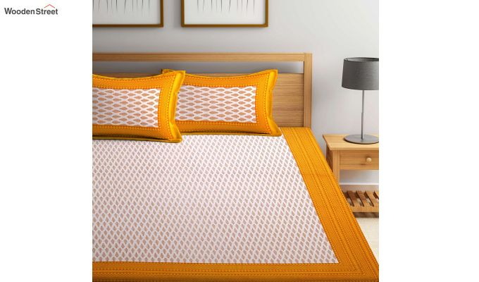 Yellow and White Screen Block Print Double Bed Sheet With Pillow Covers-3