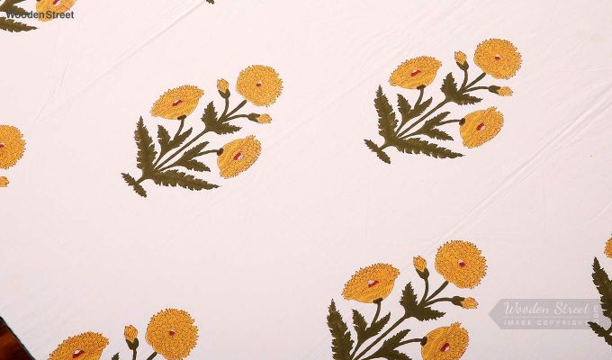 Yellow Marigold Hand Block Print Bed Sheet With Pillow Covers-3