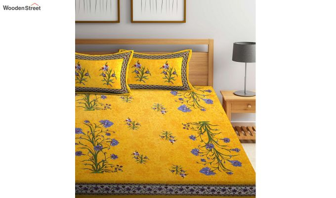 Yellow Screen Block Print Double Bed Sheet With Pillow Covers-2