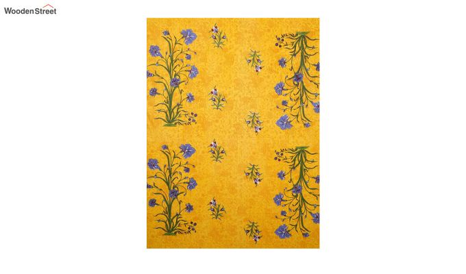 Yellow Screen Block Print Double Bed Sheet With Pillow Covers-3