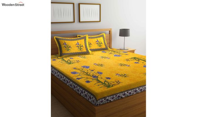 Yellow Screen Block Print Double Bed Sheet With Pillow Covers-4