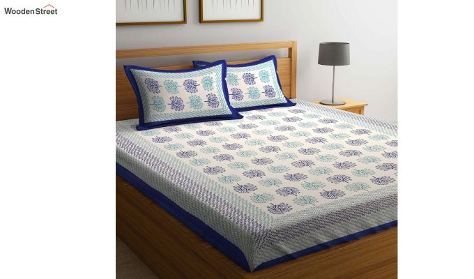 Blue Screen Block Print Double Bed Sheet With Pillow Covers-1