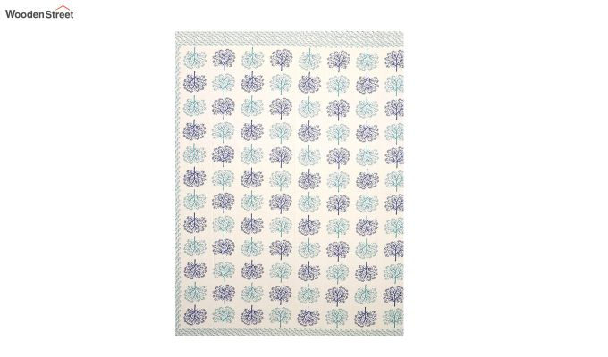 Blue Screen Block Print Double Bed Sheet With Pillow Covers-4