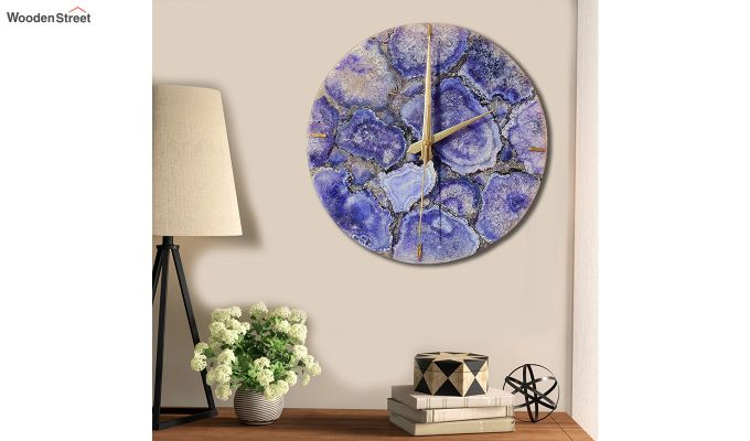 Agate Gem Therapy Blue Wall Clock-1