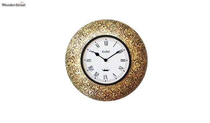 Antique 12-inch Brass Metal Fitted on MDF Base Decorative Wall Clock-2