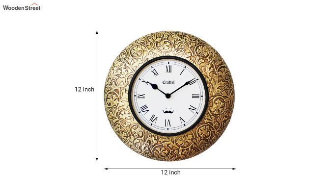 Antique 12-inch Brass Metal Fitted on MDF Base Decorative Wall Clock-3