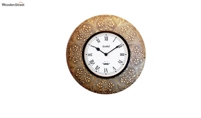 Antique 12-inch Brass Metal Fitted on MDF Wooden Base Decorative Wall Clock-2